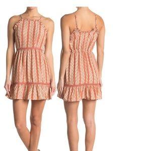 Crotchet Inset ruffled halter dress. NWT L